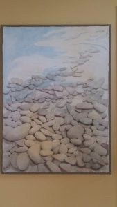"""Stones"" watercolour 22x30 mounted and ready to hang"