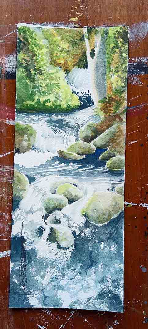 watercolour of a small shaded brook in Ireland