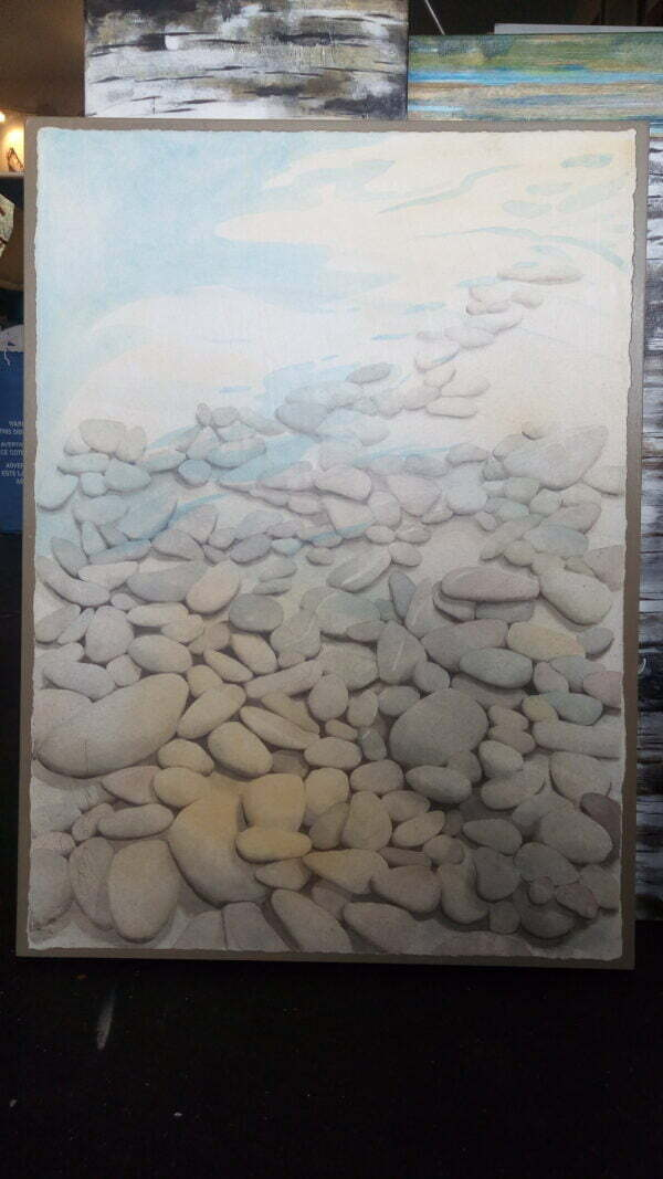 Watercolour painting of the light reflecting underneath the surface.